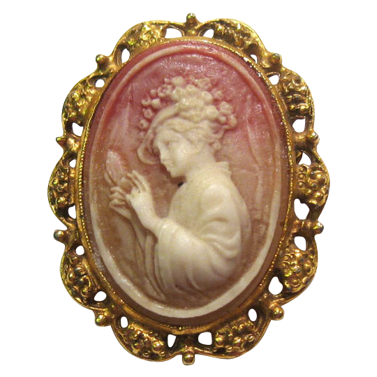 Cameo of Beautiful Lady with Flowered Hat