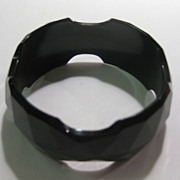 Black Bakelite Bracelet Carved Faceted