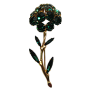 Tremblant Pin Emerald Green Rhinestone Flower Trembler
