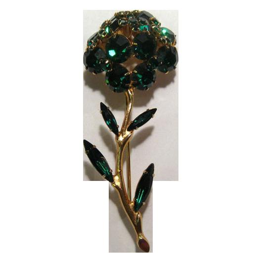 Tremblant Pin Emerald Green Rhinestone Flower Trembler