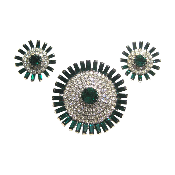 Brilliant Emerald Green and Diamante Demi Parure