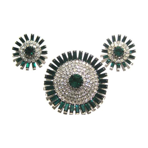Brilliant Emerald Green and Diamante Demi Parure