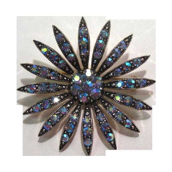 Shimmering Aurora Borealis Flower Brooch Pin Blue