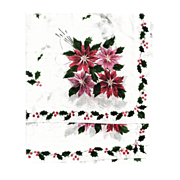 Christmas Hankie with Poinsettias Vintage New Unused