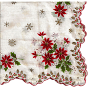 Poinsettia Christmas Hankie