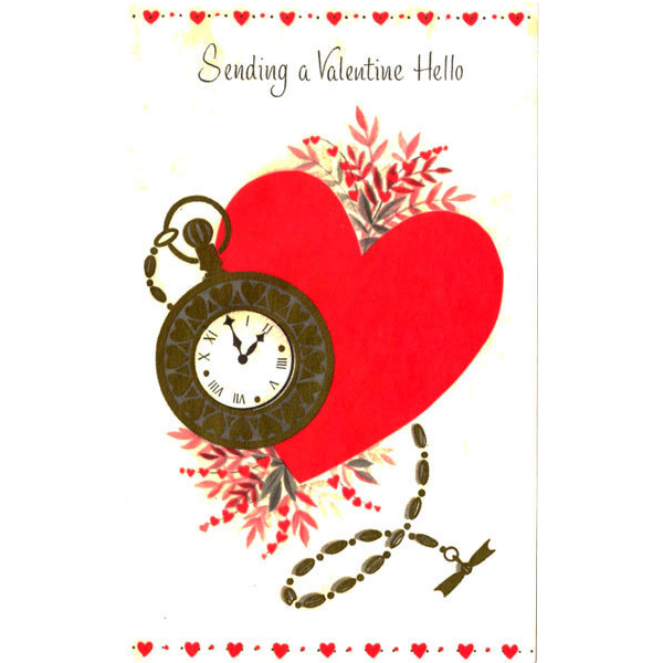 Valentine Greeting Card with Pocket Watch and Chain on Parchment Paper