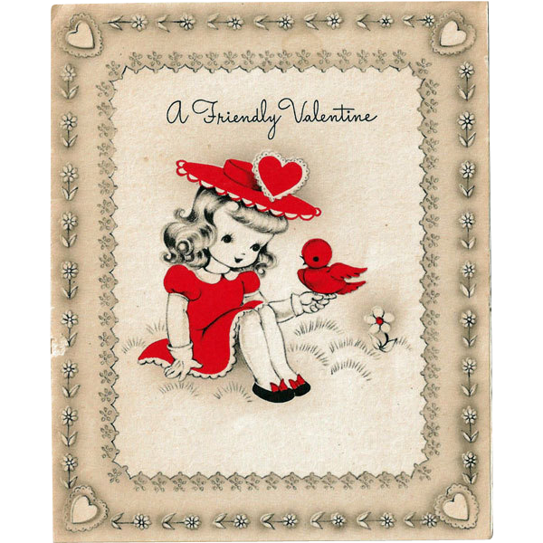 A Friendly Valentine Card Sweet Girl with Red Bird from antique – Friendly Valentine Cards
