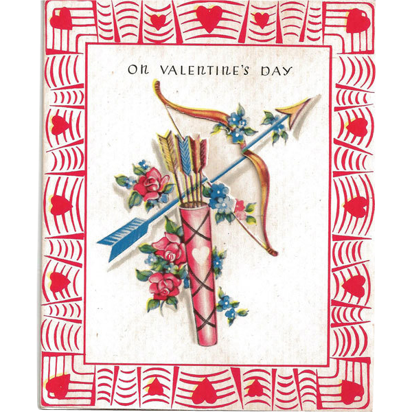 Valentine Greeting Card with Bow and Arrows
