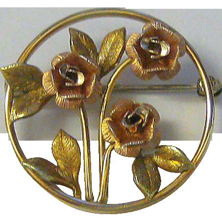 Krementz Gold-tone Rose Pin