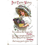 Clapsaddle Easter Postcard Girl Pretty Hat Basket of Flowers