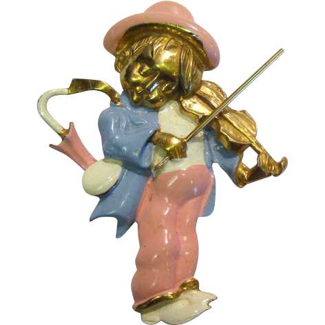 "Hummel ""Little Fiddler"" Pin Gilded and Enameled by Silson"