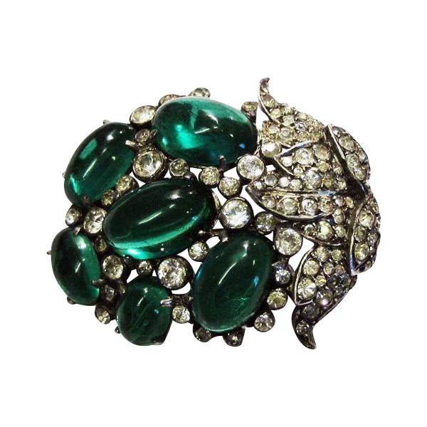 Emerald Cabochon and Diamante Pin - Superb Vintage