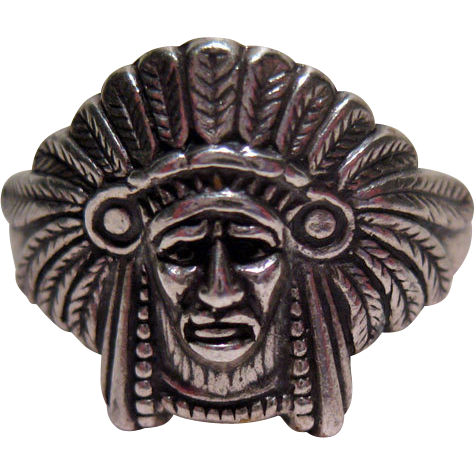 RESERVED FOR LU - Ring American Indian Chief Full Headdress