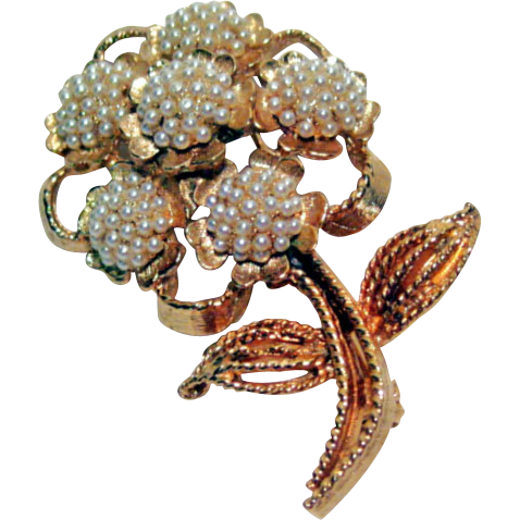 Har Dainty Flower Pin Tiny Simulated Pearls