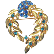 M Jent Flowing Leaf Design Gold-tone Pin Blue and Green Rhinestones