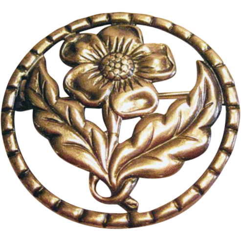 Sterling Flower Pin Circle Frame