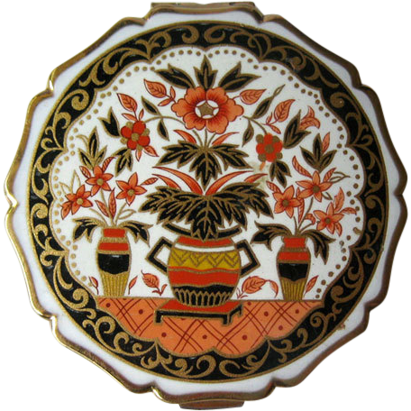 Stratton Compact Asian Scene Vases and Flowers