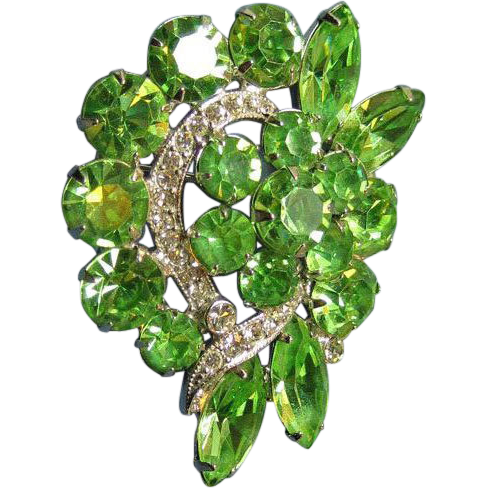 Eisenberg Ice Lime Green Rhinestone Pin Brooch