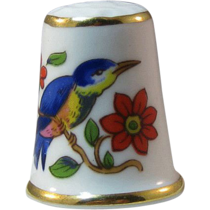 Ansley England Bone China Thimble Bluebird Flowers