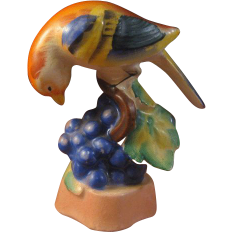 Occupied Japan Bird on Grapes Figurine Colorful