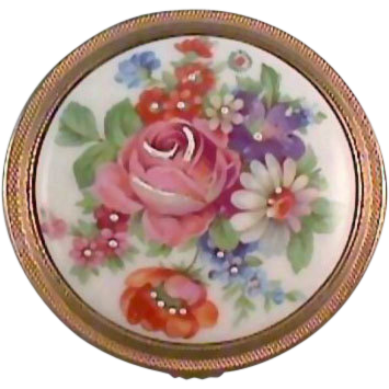 Limoges France Ladies Compact Porcelain Top