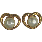 Rochas Paris Earrings Gold-tone Simulated Pearl