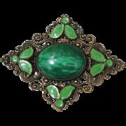 Peking Glass and Green Enamel Brooch