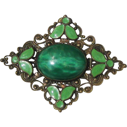 Peking Glass and Green Enamel Brooch