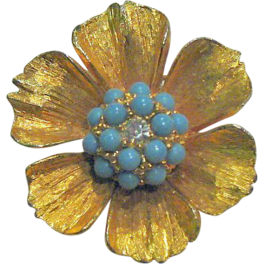 De Nicola Flower Pin Faux Turquoise and Rhinestone / Fashion Jewelry / Designer Jewelry / Designer Pin