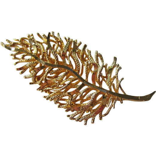 Coro Stylized Leaf Pin Gold-tone