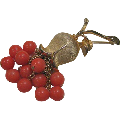 Flower Pin Coral Colored Beads Dangling