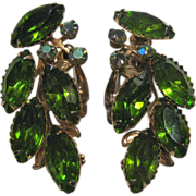 Olivine Lime Green Rhinestone Earrings