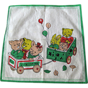 Child's Hankie Three Little Pigs Rabbit Bear and Owl