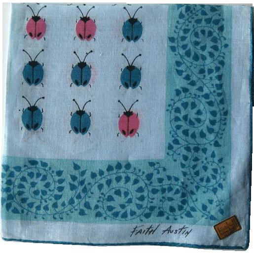 Faith Austin Hankie Handkerchief Ladybugs