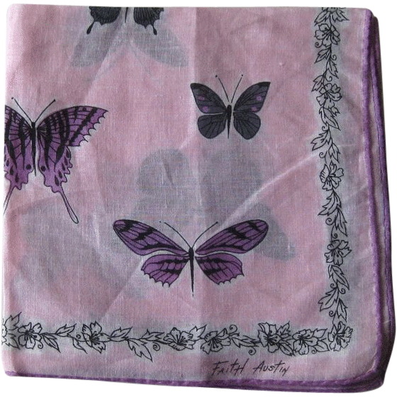 Faith Austin Butterfly Hankie Handkerchief