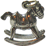Sterling Silver Rocking Horse Charm Three Dimensional Signed