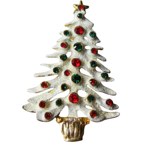 Eisenberg Ice Snow Covered Christmas Tree Pin Rhinestones Colorful