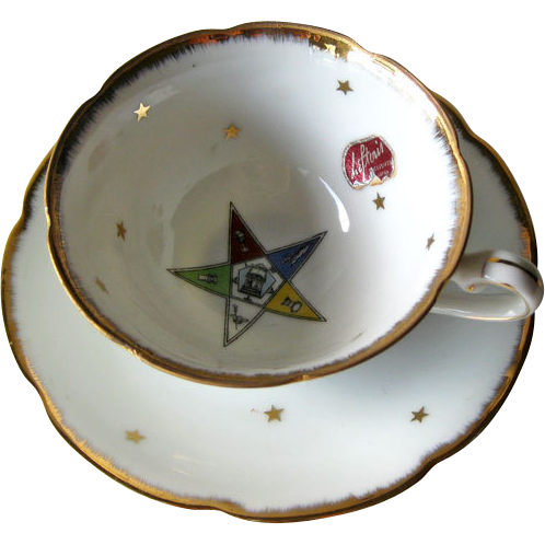 Lefton Order of Eastern Star Cup  Saucer OES