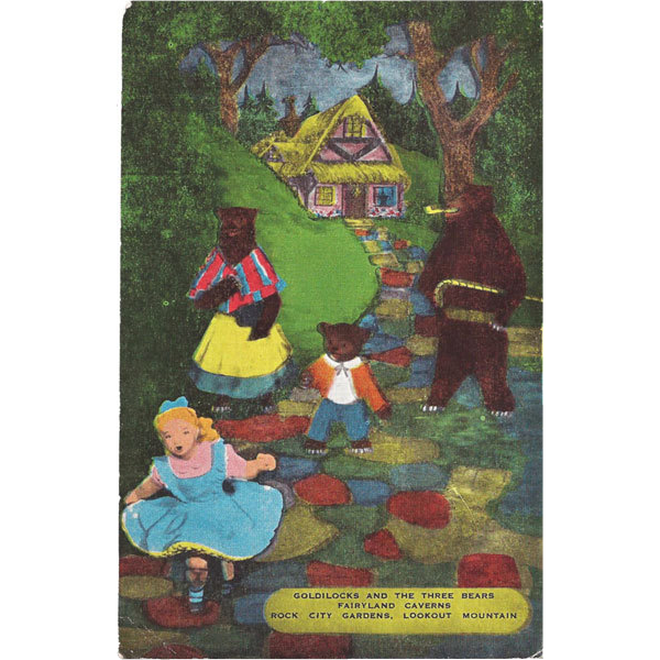 Goldilocks and Three Bears Postcard Fairyland Caverns Rock City Gardens Lookout Mounatin Chatanooga Tennesse
