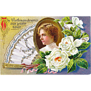 Nash Postcard Gilded Portrait Fan and Flower Postcard