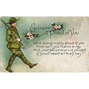 Postcard World War One Soldier Marching off to War
