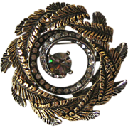 Wreath Pin Brooch Gold-tone Rhinestones Designer Signed ART