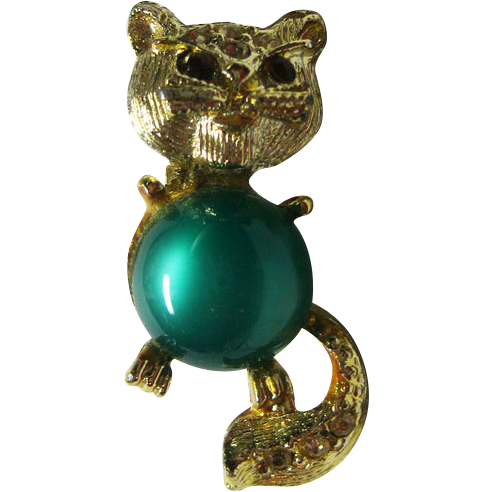 Jelly Belly Style Cat Pin Petite Brushed Gold Tone Metal