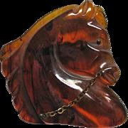 Bakelite Horse Head Pin Swirl Root beer Color with Rein