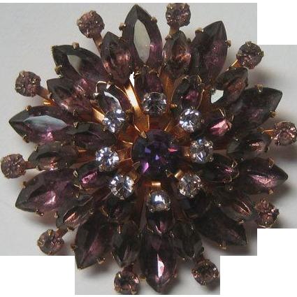 Amethyst Rhinestone Star burst Pin Brooch Dimensional