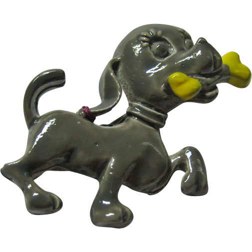 Gerry's Enamel Dog Pin Bone in Mouth Gray and Yellow