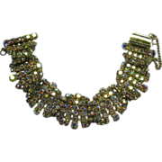 Aurora Borealis Rhinestone Bracelet Swags Gold Blue Color