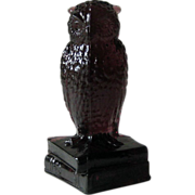 Degenhart Dark Amethyst Owl Figurine on Books Signed