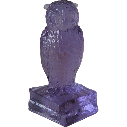 Degenhart Heatherbloom Owl Figurine on Books Signed