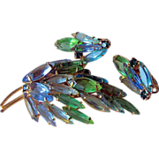 Pastel Blue and Green Rhinestone Set Open Back Stones